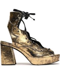 McQ - Metallic Lace-up Cracked-leather Sandals - Lyst