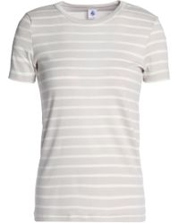 Petit Bateau - Striped Cotton-jersey T-shirt Light Gray - Lyst