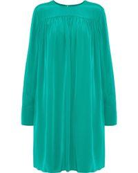 Diane von Furstenberg - Gathered Washed-silk Mini Dress - Lyst