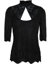 Roberto Cavalli - Woman Paneled Cutout Knitted Top Black - Lyst