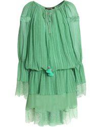 Roberto Cavalli - Lace-trimmed Cotton And Silk-blend Mini Dress - Lyst