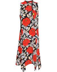 Diane von Furstenberg - Woman Draped Floral-print Silk Crepe De Chine Wrap Dress Red - Lyst