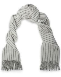 Rag & Bone - Fringed Pinstriped Merino Wool Scarf - Lyst