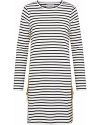 10 Crosby Derek Lam - Buckle-detailed Striped Cotton-jersey Mini Dress - Lyst
