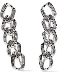 Noir Jewelry - Chain Gang Rhodium-plated Crystal Ear Cuffs Silver - Lyst