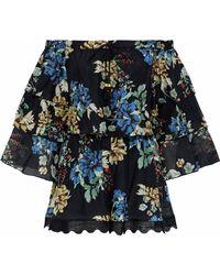 Nicholas - Florian Off-the-shoulder Floral-print Cotton And Silk-blend Playsuit - Lyst