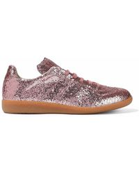 Maison Margiela - Glittered Leather Sneakers Antique Rose - Lyst