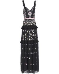 Needle & Thread - Woman Ruffled Lace-trimmed Embroidered Tulle Maxi Dress Black - Lyst