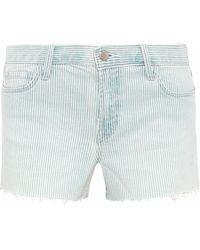 J Brand - Frayed Striped Denim Shorts Sky Blue - Lyst