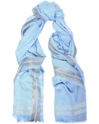 Claudie Pierlot - Metallic Knitted Scarf Light Blue - Lyst