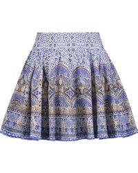 Camilla - Embellished Pleated Printed Cotton-blend Mini Skirt - Lyst