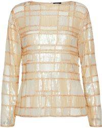 Raoul - Bead And Sequin-embellished Mesh Top Pastel Yellow - Lyst