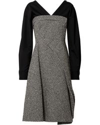 ADEAM Layered Houndstooth Wool-blend And Cotton-blend Dress Black