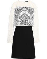 Maje - Layered Lace And Crepe Mini Dress - Lyst