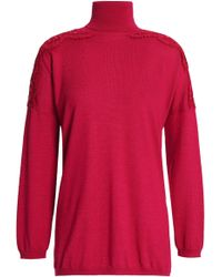 Valentino - Lace-trimmed Wool, Silk And Cashmere-blend Turtleneck Jumper - Lyst