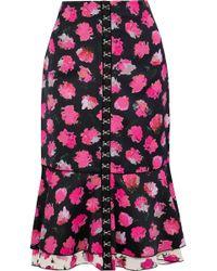 Proenza Schouler - Fluted Floral-print Satin-crepe Midi Skirt - Lyst