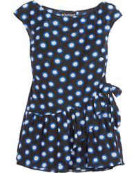 Boutique Moschino - Ruffled Polka-dot Cotton-voile Top - Lyst