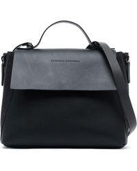 Brunello Cucinelli - Bead-embellished Woven-trimmed Leather Shoulder Bag - Lyst