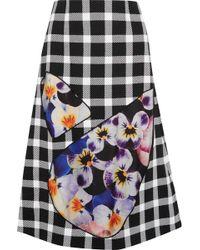 Christopher Kane - Tulle-paneled Gingham Wool-blend Skirt - Lyst