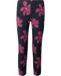 Lela Rose - Catherine Cropped Cotton-blend Floral-jacquard Slim-leg Pants - Lyst