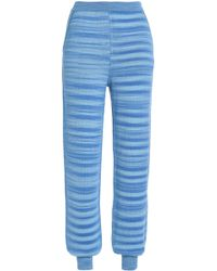 Missoni - Jacquard-knit Cashmere And Silk-blend Track Trousers Light Blue - Lyst