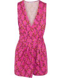 Diane von Furstenberg - Maeve Floral-print Silk-jersey Wrap Playsuit - Lyst