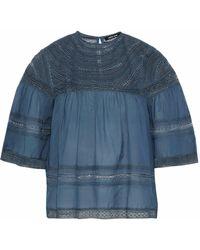 Love Sam - Crochet-paneled Gauze Blouse - Lyst