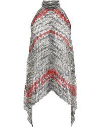Missoni Pleated Metallic Crochet-knit Halterneck Top Platinum