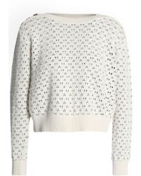 7 For All Mankind - Pointelle And Jacquard-knit Cotton-blend Jumper - Lyst