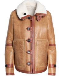 JOSEPH - Reversible Shearling-trimmed Cracked-leather Coat - Lyst