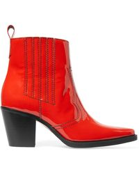 Ganni - Patent-leather Ankle Boots - Lyst