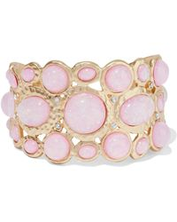Kenneth Jay Lane - Hammered Gold-tone Stone And Crystal Cuff Baby Pink - Lyst