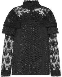 Anna Sui - Woman Lace-paneled Jacquard Top Black - Lyst