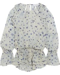 IRO | July Ruffled Floral-print Georgette Blouse | Lyst