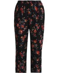 Joie - Woman Floral-print Silk-georgette Straight-leg Pants Black - Lyst