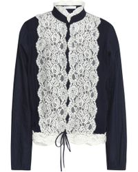 See By Chloé See By Chloé Lace-paneled Poplin Top Navy