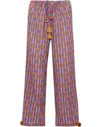 Figue - Tasseled Printed Cotton-blend Gauze Wide-leg Pants - Lyst