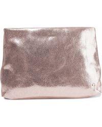 Halston - Metallic Cracked-leather Pouch - Lyst