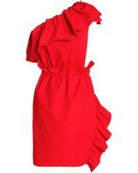 Goen.J - One-shoulder Ruffle-trimmed Poplin Dress - Lyst