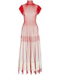 Alexander McQueen - Tasseled Embroidered Plissé-silk Midi Dress - Lyst