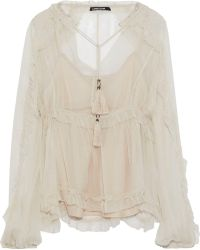 Love Sam - Kasia Ruffle-trimmed Georgette Blouse - Lyst