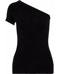 Helmut Lang - Woman One-shoulder Chenille Top Black - Lyst