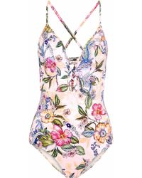 Jets by Jessika Allen - Lattice-trimmed Floral-print Swimsuit - Lyst