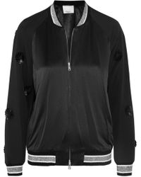 3.1 Phillip Lim - Appliquéd Wool And Silk-satin Bomber Jacket - Lyst