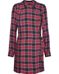 Opening Ceremony Pleated Checked Flannel Mini Dress Crimson