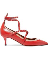 Valentino - Woman Love Latch Eyelet-embellished Two-tone Leather Pumps Tomato Red - Lyst