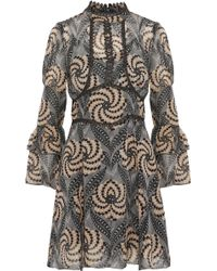 Anna Sui - Metallic Crochet-trimmed Printed Chiffon Mini Dress - Lyst