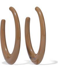 Ben-Amun - Woman Resin Silver-tone Hoop Earrings Taupe - Lyst