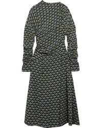 Marni - Gathered Printed Silk-crepe Midi Dress - Lyst