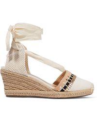 340d705ae64 Schutz Woman Lace-up Shirred Crochet Platform Wedge Sandals Ecru ...